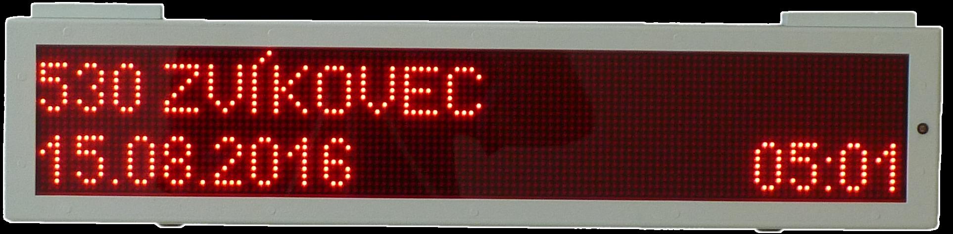 Vozidlový vnitřní LED panel dvojřádkový jednostranný - VLP 20×120.
