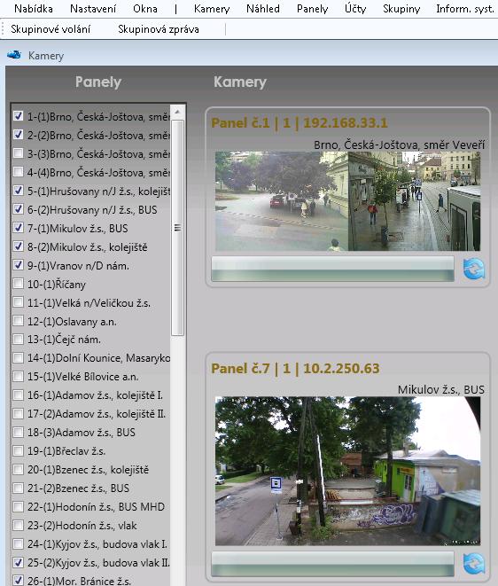 Přehledové okno pro celkové sledování stavu více zastávek.