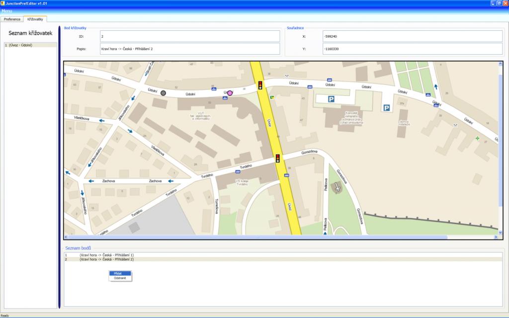 Ukázka mapy s křižovatkami, které podléhají preferenci.