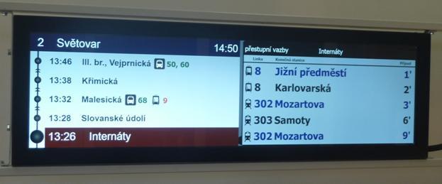 Boční vnitřní vozidlový LCD panel VCS 379 E.