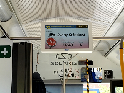 Pic. no.2: An example of the VCS 185E LCD panel used in a Škoda 26 Tr Solaris trolleybus (the picture taken from BUSportál.cz, Friday 14. 6. 2013 - photo by © Lukáš Kučera).