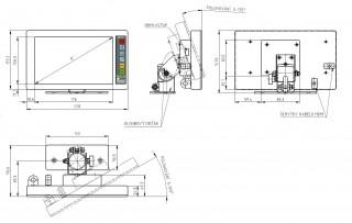 Obr. č.4: Rozměry LCD terminálu na kloubovém držáku.