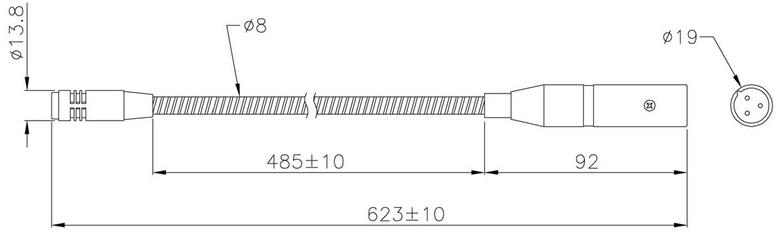 Standardní velikost mikrofonu GM-4.