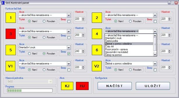 Kontrolní panel programu OAS MASTER pro nastavení hlasové jednotky.