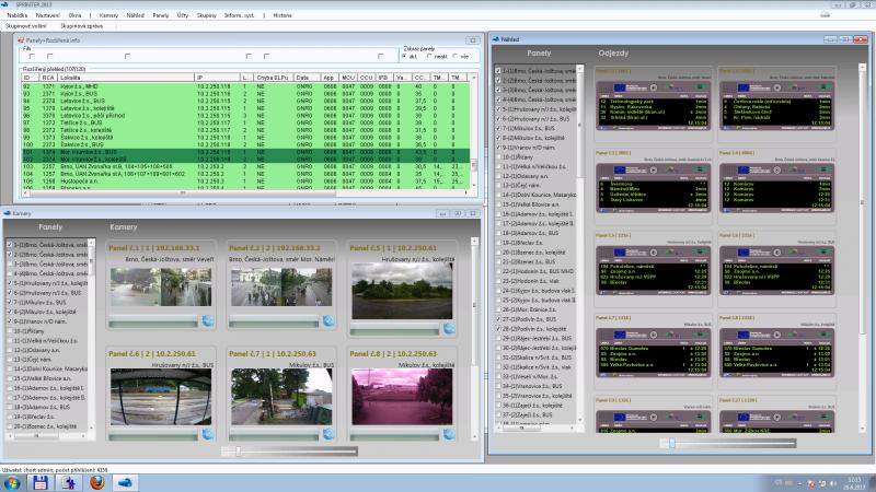 Složené přehledové okno stavu elektronických informačních zastávkových panelů.