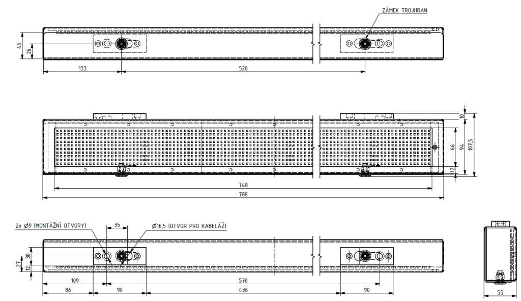 Mechanické provedení panelu - VLP 10 x 120 Rx-01A.;
