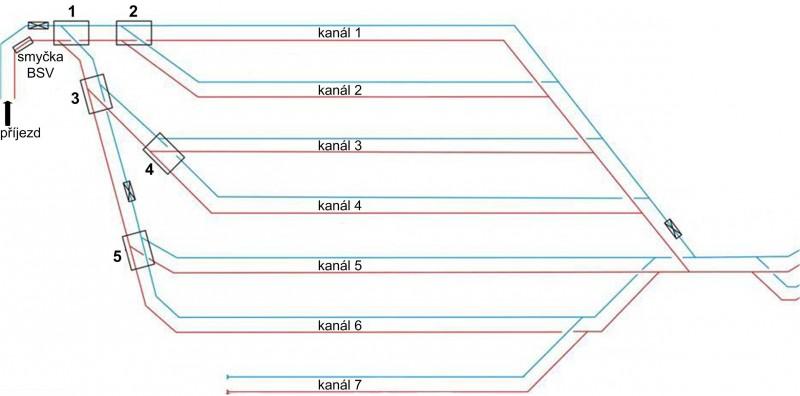 Vozovna komín, značení výhybek odstavných trolejových kanálů