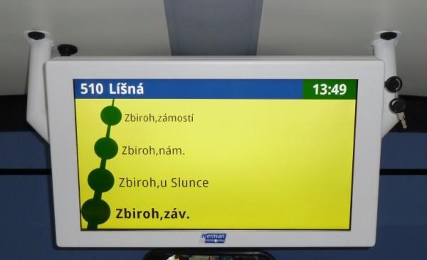 Obr. č.3: Vnitřní jednostranný LCD panel pro cestující VCS 185A