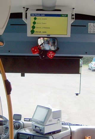 Pic. no.1: Placement of the system in a vehicle - the EPIS 5FCC checking system and the VCS 185A LCD panel.