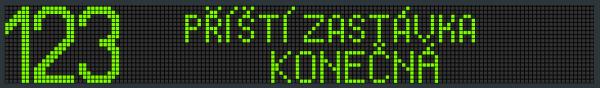 Příklad zobrazení textu na panelu VLP 19x144.