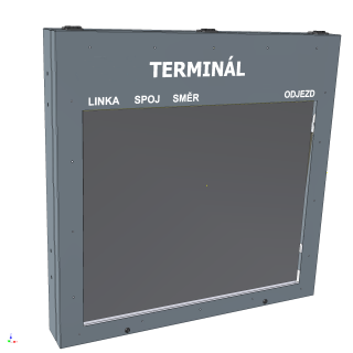 Obr. č. 1: Velkoplošný jednobarevný přehledový odjezdový panel ELP 602 určený jako centrální na dopravní terminály.