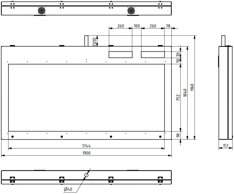Obr. č.5: Rozměry panelu ELP 652