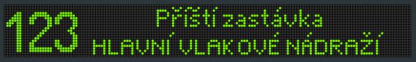 Příklad zobrazení textu na panelu VLP 21x160