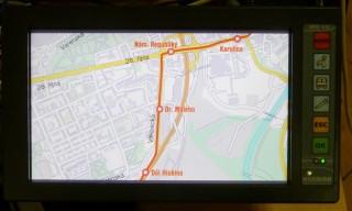 Obr. č. 6: Zobrazení vybraného úseku linky na mapě.