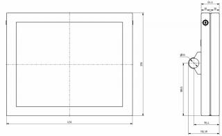 Obr. č. 3: Rozměry LCD pro cestující - typ VCS 190Ax-Sx - poměr stran 5:4