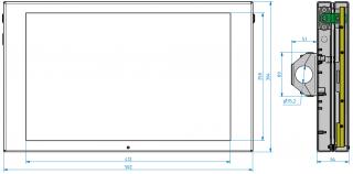 Obr. č. 2: Rozměry LCD pro cestující - typ VCS 190Ax-Wx - poměr stran 16:9