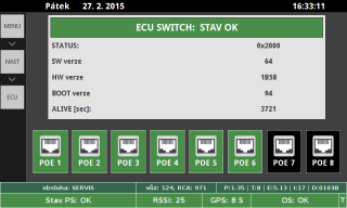A demonstration of the operational state of a PoE output (green color) from the ECU-08Poethernet switch in a service menu on a driver terminal