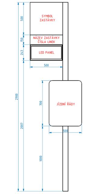 Obr. č. 8: Rozměry označníku s ELP 185.