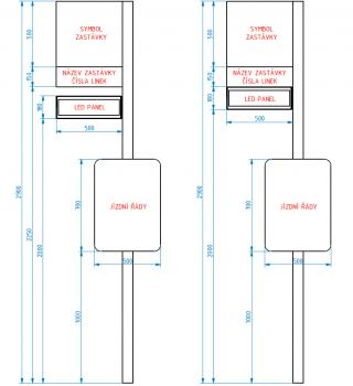 Obr. č. 3: Rozměrová vizualizace zastávkového označníku s ELP 183.