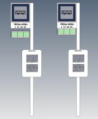 Obr. č. 2: Vizualizace zastávkového označníku s ELP 183 se značkou nalevo od sloupku.