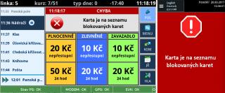 Рис. 6: Пример использования заблокированной небанковской карты на терминале водителя (слева) и на валидаторе (справа).