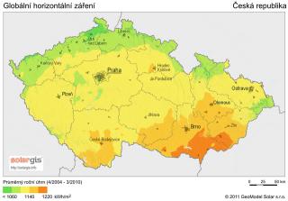 Рис. 2: Глобальное горизонтальное излучение и падающая энергия по регионам Чешской Республики.