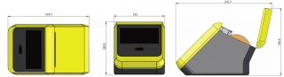 Рис. 6: Основные механические размеры EPP 5.0, включая открытие крышки для вложения бумаги.