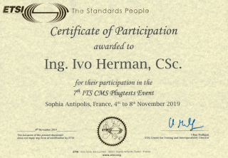 Certificate of participation in Plugtest ETSI of V2X communication.