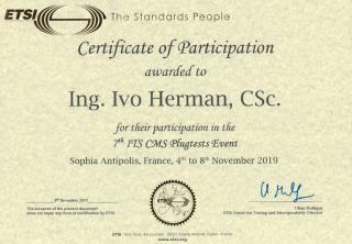 Сертификат об участии в Plugtest ETSI V2X коммуникации.