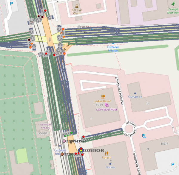 Example of what vehicles see if intersection controllers use V2X and broadcast signal plans (red/green for individual lines – gray means an arrival line). The color dots mean that a PT vehicle is present.