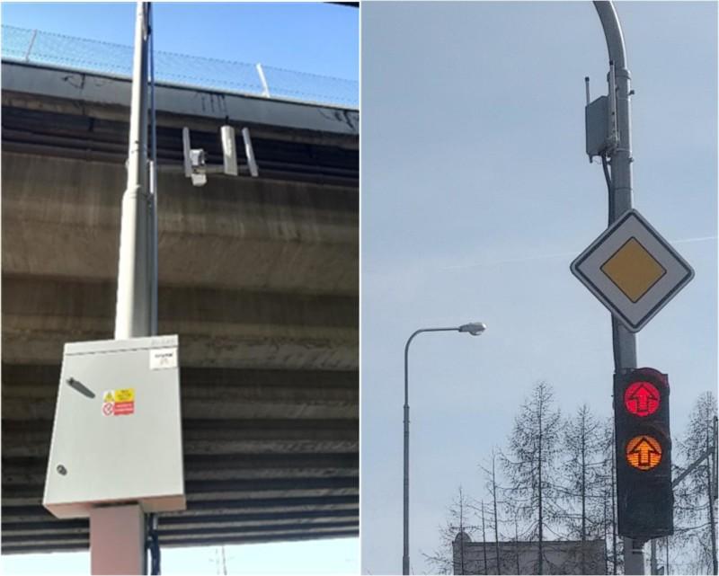 Obr. č.4: RSU v rozvaděči na dálnici (vlevo) a RSU, umístěné nad světly semaforu pro preferenci MHD (vlevo),