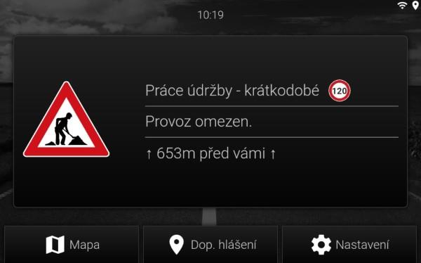 Varování zobrazené na tabletu v naší aplikaci V2Vis