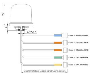 Obrázek 2: Dodávaná multianténa – při objednávce je nutno definovat délku připojných kabelů.