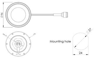 Obrázek 3: Mechanické rozměry antény a montážní otvor na střechu.