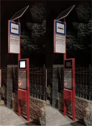 Obr. č.2: Porovnání označníku ELP  191 v noci - bez podsvitu a s LED podsvitem aktivovaným cestujícím.