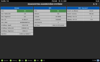 Obr. č. 8: Okno diagnostiky pro LTE, GPS a komunikace na server.
