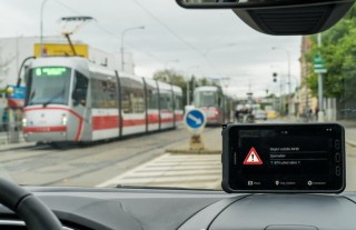 Example of a tram state display related to the state of surrounding vehicles as shown on a tablet running our application.