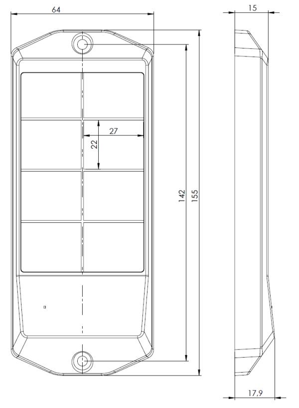Mechanické rozměry ovládací klávesnice OV-01