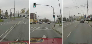 Fire engine going through three subsequent intersections. The shots were taken by a vehicle camera and sent as a video to the dispatching in real time in daylight visibility.